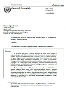 Report of the Special Rapporteur on the situation of indigenous peoples in the United States (United Nations, 2012)