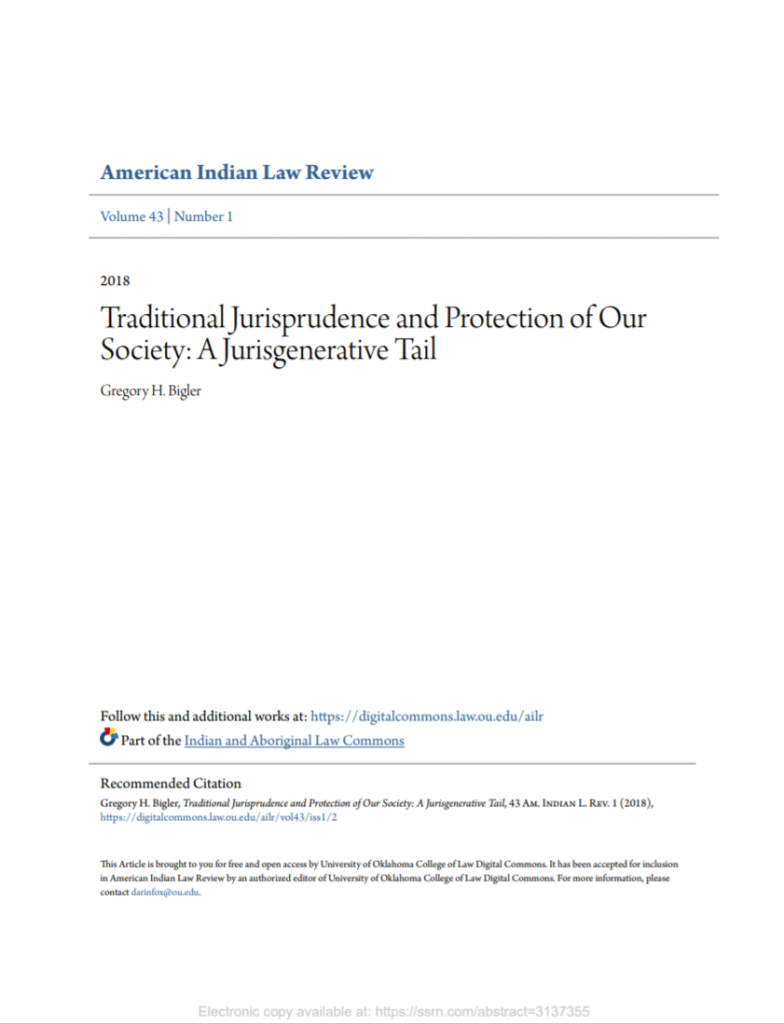 Traditional Jurisprudence and Protection of Our Society: A Jurisgenerative Tail