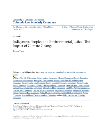 Indigenous Peoples and Environmental Justice: The Impact of Climate Change