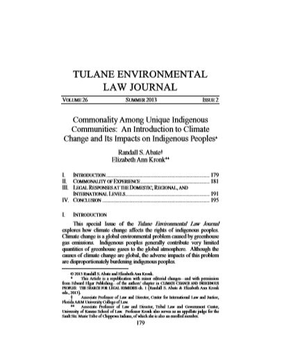 An Introduction to Climate Change and Its Impacts on Indigenous Peoples - Tulane Environmental Law Journal