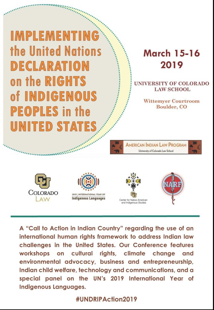 2019 CONFERENCE: Implementing the United Nations Declaration on the Rights of Indigenous Peoples in the United States