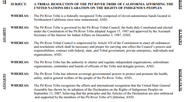 Pit River Tribe Implementation of the UN Declaration